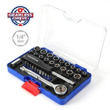 WORKPRO 31PC 1/4 Zero Degree Socket Wrench Tool Direct Drive Ratchet Spanner Sockets Set