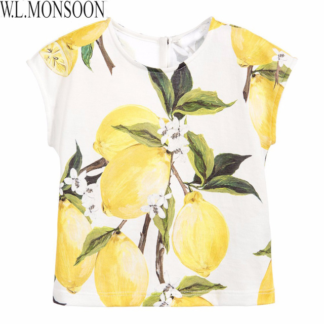 W.L.MONSOON Kids Tshirt Girls Tees 2017 Brand Summer Girls T shirts Children Clothing Lemon Print Kids Clothes Girls T-shirt