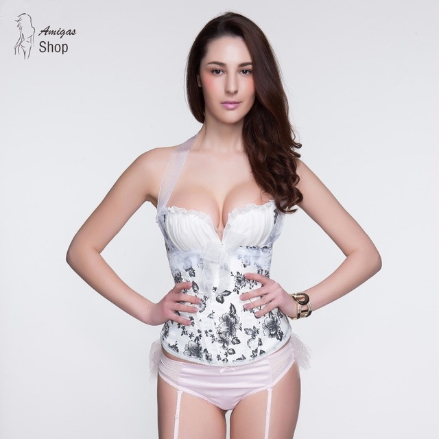 White Corset Lace Up Top Corselet espartilhos e corpetes emagrecimento Women Tight Bustier Sexy Bodice Floral corsage Overbust