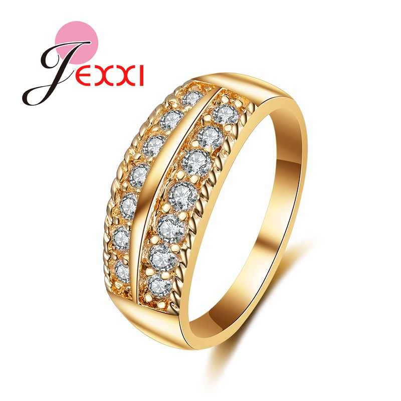 New Two Lines Design AAA Zircon Band Rings Fashion Yellow Gold Color Jewelry Gift Ring for Women Wedding Party