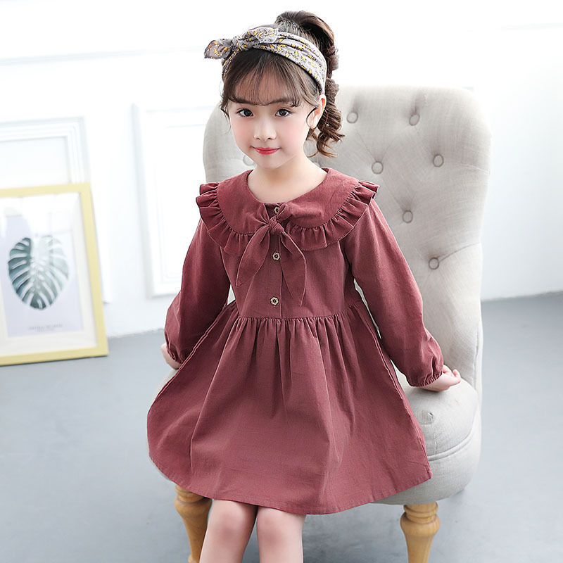 2018 New Autumn Baby Girls Dress Brand Cotton Bow Children Long Sleeve Dress Kids Beautiful Dress Toddler Princess Dress,#3351