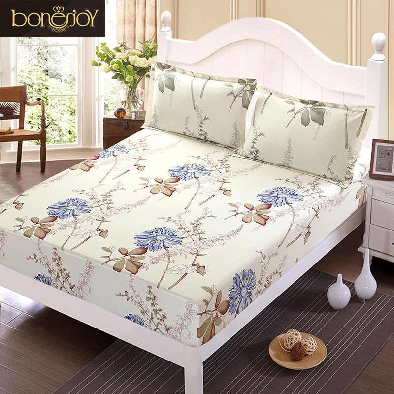 Floral Printed Fitted Sheet and Pillow Case Polyester Mattress Cover Bed Linens Bed Sheet with Elastic For Double/King Bed