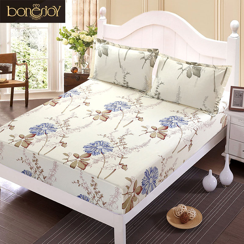 Floral Printed Fitted Sheet and Pillow Case 1 pc Polyester Mattress Cover Bed Linens Bed ...