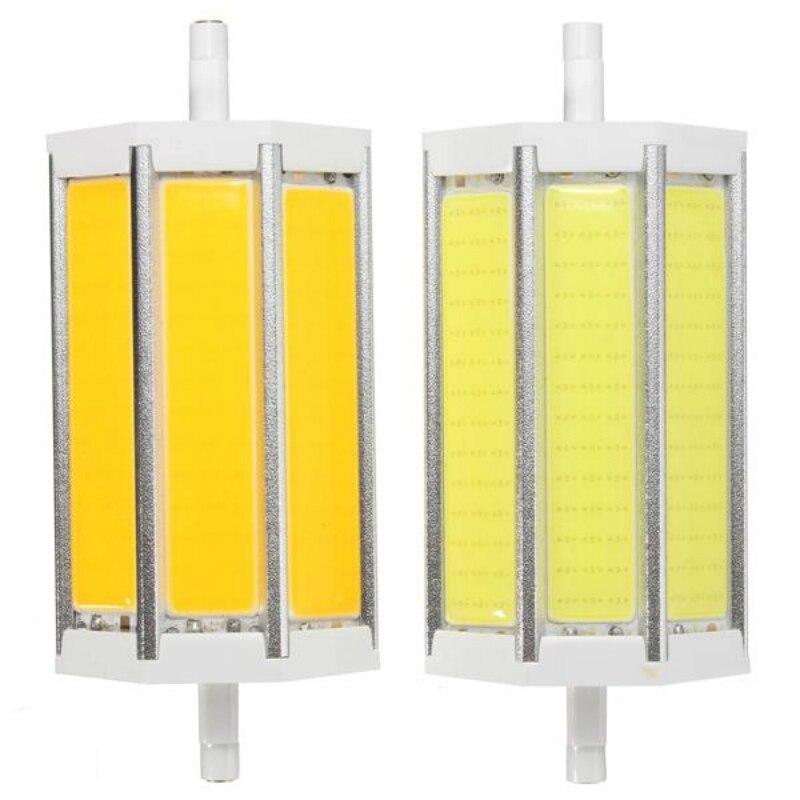 Dimmable R7S 118MM 15W COB SMD White Warm white LED Flood Light Spot Corn light Lamp Bulb AC 85 265V in LED Bulbs Tubes from Lights Lighting