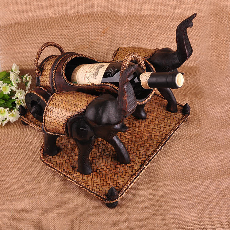 Two Elephants Pull Carts Bamboo Creative Retro Furniture Made of Solid Wood <font><b>Elegant</b></font> Manual <font><b>Home</b></font> <font><b>Decorations</b></font> Ornaments Wine Racks