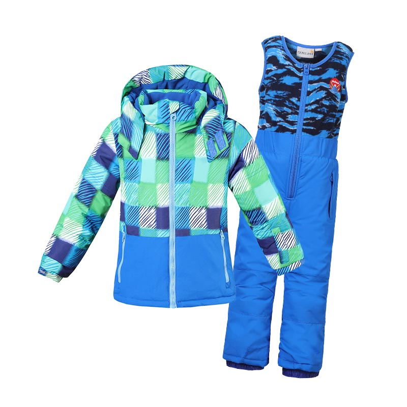 Girls Kids Ski Suit Boys Waterproof Winter Children's Warm Snowsuit Outwear Turtleneck Striped Printed Jackets Kids Clothing Set