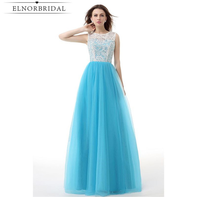 Modest Light Sky Blue Prom Dresses 2017 Robe De Soiree Longue Sheer ...