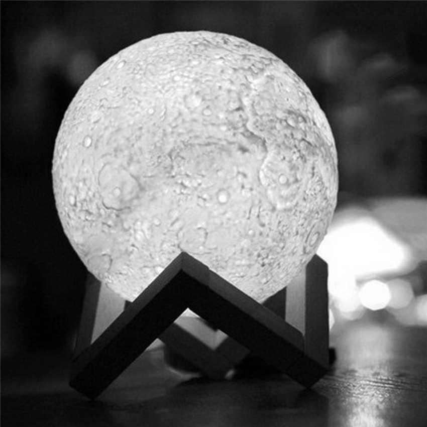 NDTUSMZ пластик 3D печать Луны лампы цвета изменить белый желтый сенсорный выключатель спальня книжный шкаф ночник домашний декор креативный под