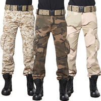 Fashion Multi Pocket Combat Trousers Tactical Military Style Camouflage Cargo Pants Men Baggy Army Green Desert