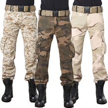 2017 New Fashion Multi Pocket Combat Trousers Tactical Military Style Camouflage Cargo Pants Men Baggy Army Green Desert Camou