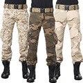 Estilo de moda Multi-Bolsillo de los Pantalones de Combate Táctico Militar de Camuflaje Pantalones Cargo Holgados de Los Hombres del Desierto Del Ejército Verde Camou