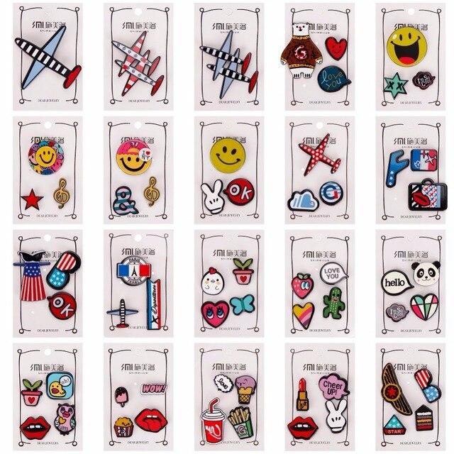 1-4 pcs/set Creative Cartoon Bear Panda Heart Music Note Smile Airplane Brooch B