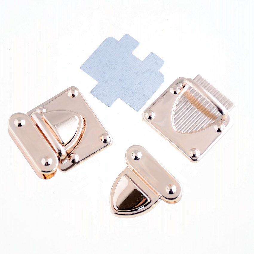 Free Shipping-1Set Rose Golden Jewelry Wooden Case Boxes Bag Making Lock Latch Hardware 36x33mm F1400