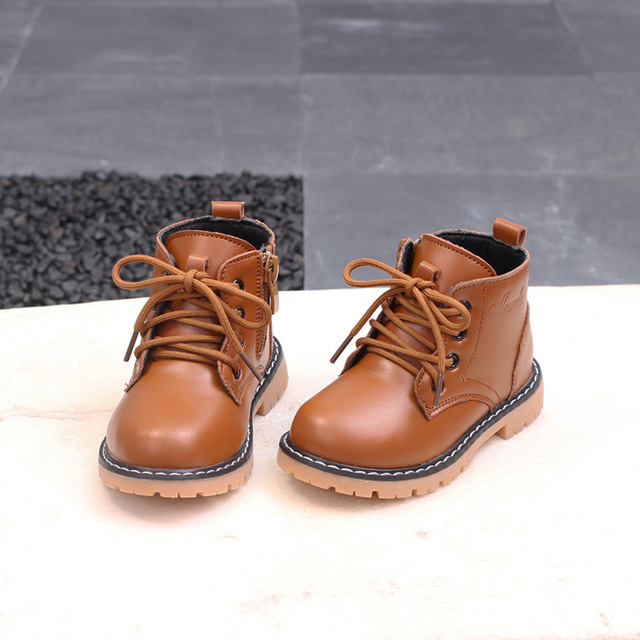 fef19b34808 Kids Ankle Boot PU Leather Boys Booties Solid Color Children Autumn Martin  Boots Big Boys Winter