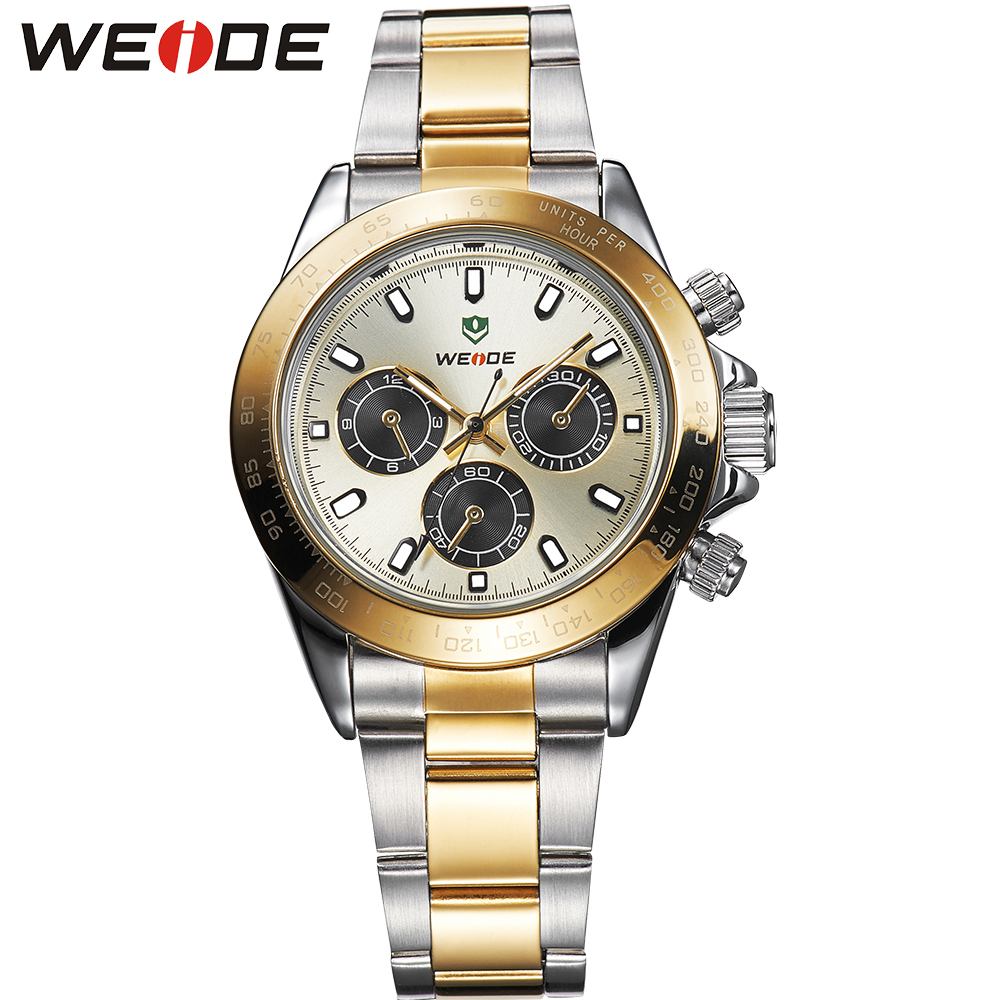 WEIDE Military Watches Japan Quartz Clock Movement Auto Date Display Luxury Brand Two Tone Gold Full Stainless Steel Watch Clock