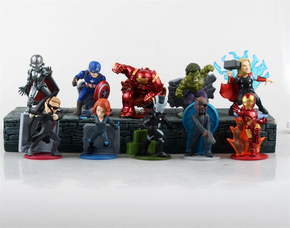 WVW 10pcs/Set The Avengers Ultron Thor Hulk Iron Man Play Arts Model PVC Toy Action Figure Decoration For Collection Gift funko pop marvel the hulk no 08 red hulk no 31 iron man vinly bobble head pvc action figure collectible model toy gift for kids