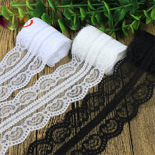 20Yards 5cm black Lace Trim Inelastic Mesh Fabric Ribbon Embroidered DIY Sewing Garment Supplies white HB005
