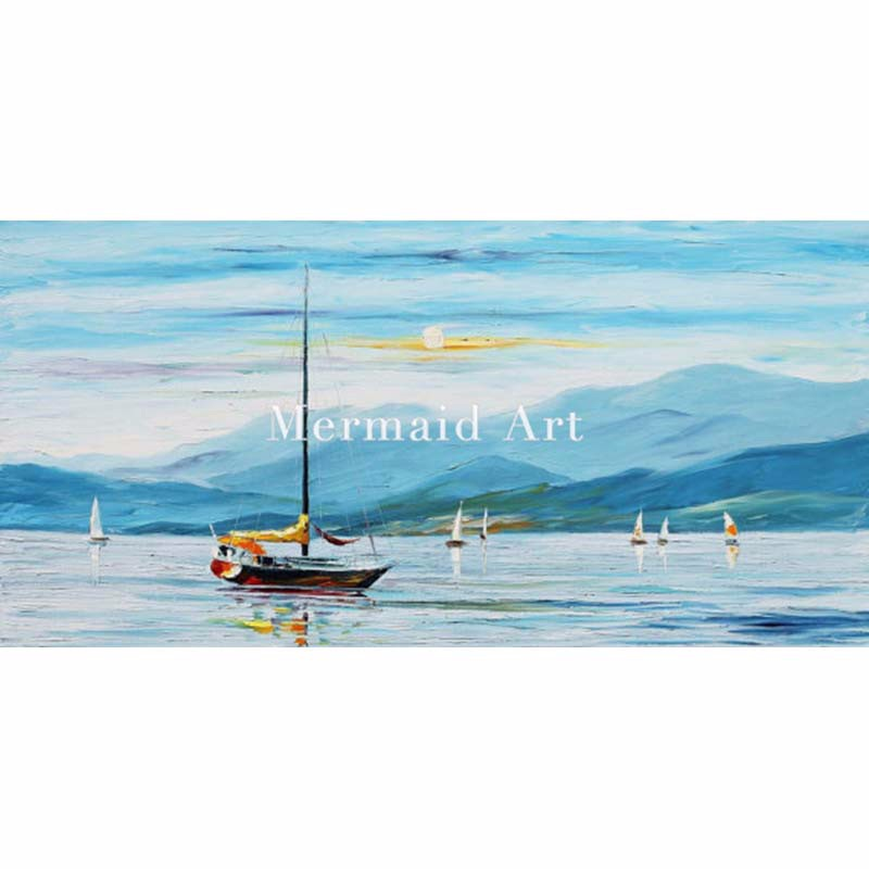 Sea-Art---Blue-Calm--Sea-Oil-Painting,-Leonid-Afremov,-Ocean-Canvas,-Seascape-Home-Decor,-Mountains-Wall-Art-Boat-Wall-Decor-Yacht-Artwork