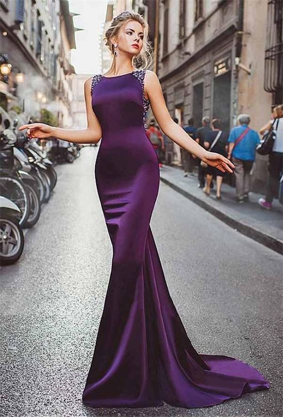 Nude Sheer Tulle Back Mermaid Satin Formal Purple   Prom     Dress   boat neck