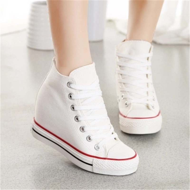 Fashion font b Women b font Wedge Canvas Shoes Platform Casual Shoes White Summer Stars Sexy