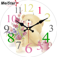 hot deal buy meistar cute bear design clock silent home cafe office wall decor clocks for kitchen wall art  mute move large wall clocks gift