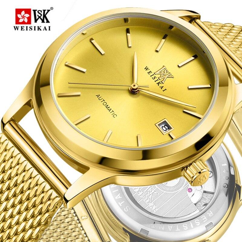 Genuine WEISIKAI Brand Fashion Women Mens Watch Auto Date Lovers Automatic Mechanical Wristwatch Stainless Steel Watches Relogio