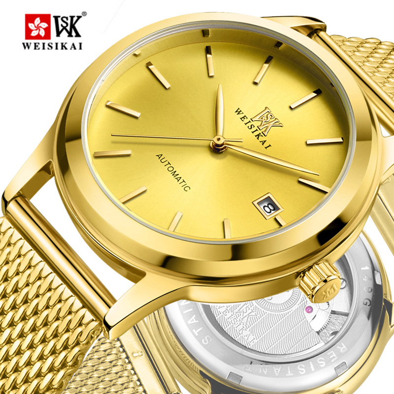 Genuine WEISIKAI Brand Fashion Women Mens Watch Auto Date Lovers Automatic Mechanical Wristwatch Stainless Steel Watches Relogio