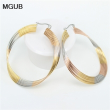 MGUB 3color Stainless steel new fashion jewelry earrings Gold color female fashion jewelry simple personality ear ring LH134