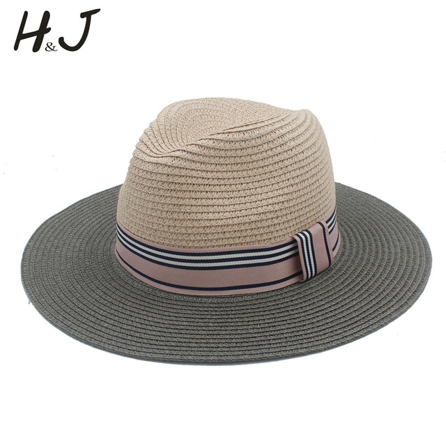 720256c4961 2017 Summer Women Floppy Wide Brim Straw Panama Sun Hat For Elegant Lady  Chapeu Feminino Fedora Beach Sunhat 56-58CM