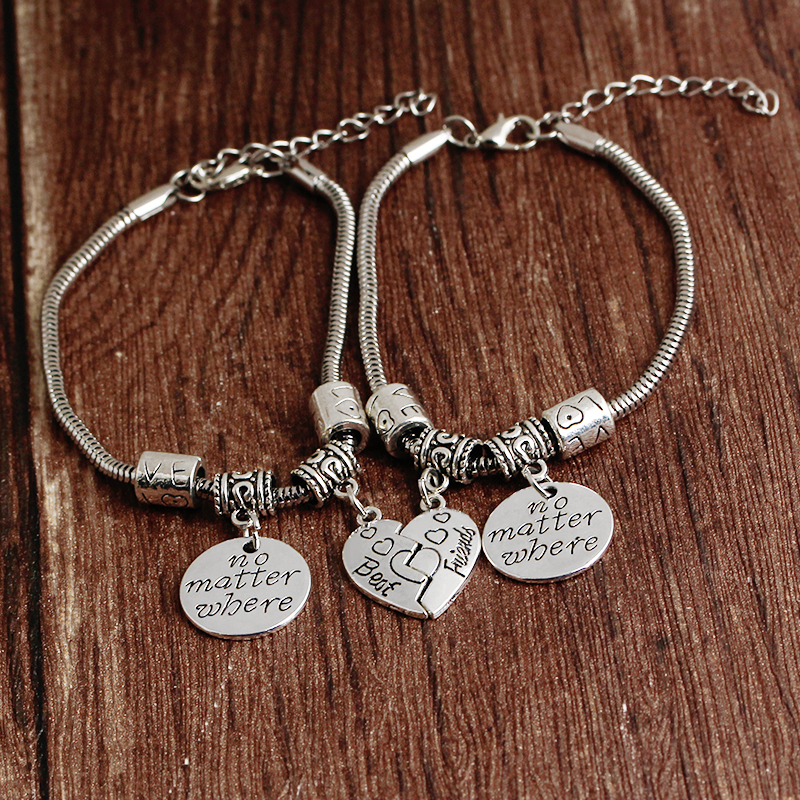 2pcs BBF Best Friends No Matter Where Compass Split Broken Heart Double Bracelets Set Friendship Gift zMeT2r4uI