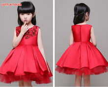 High Quality Red First Communion Dresses For Girl Tulle Lace Infant Toddler Pageant Flower Girl Dress for Wedding and Birthday