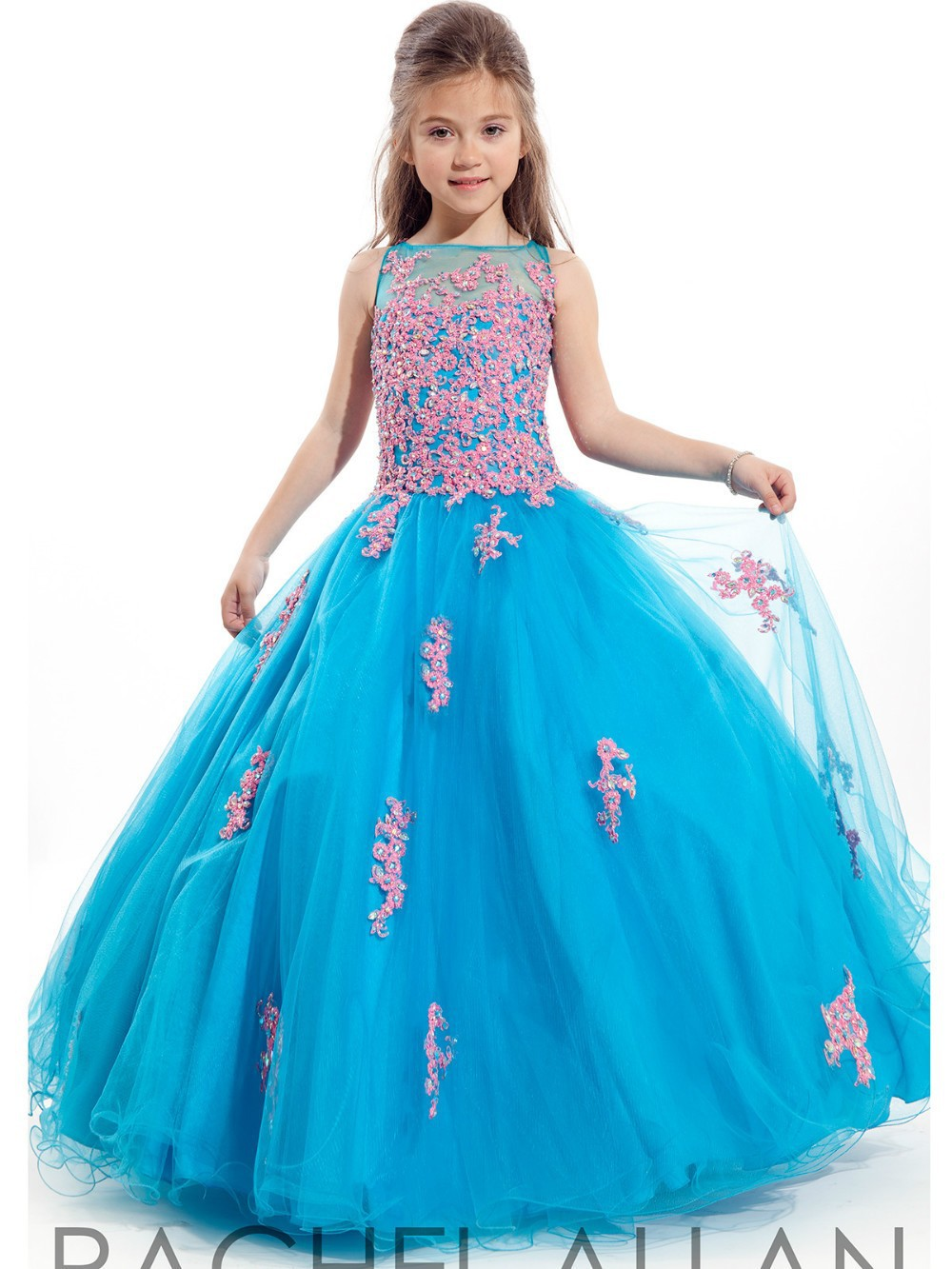 blue rhinestone lace flower girl dresses 2016 first
