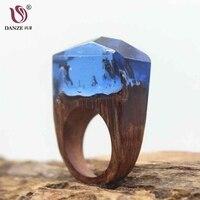 DANZÉ Luksusowe Kobiety Magia Drewniany Pierścień Tajne Las Żywicy Wewnątrz Miniaturowe Świecie Drewna Finger Biżuteria Dropshipping Prezenty