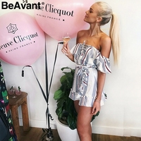 Beavantオフショルダーレースアップツーピースドレススーツ女
