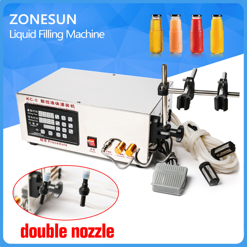 double head Microcomputer Automatic Water Liquid Filling Machine for medicine chemical self priming thermal protection 3
