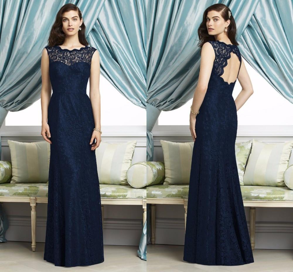 3b9df75ca5690 vestidos madrinha Navy Blue Lace Slim Bridesmaid Dresses for Wedding Guests  vestido de festa de casamento DBD18-in Bridesmaid Dresses from Weddings    Events ...
