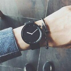 Minimalista à moda homens relógio relógios de quartzo transporte da gota 2018 nova moda simples preto BGG presentes relógios de pulso da marca masculina