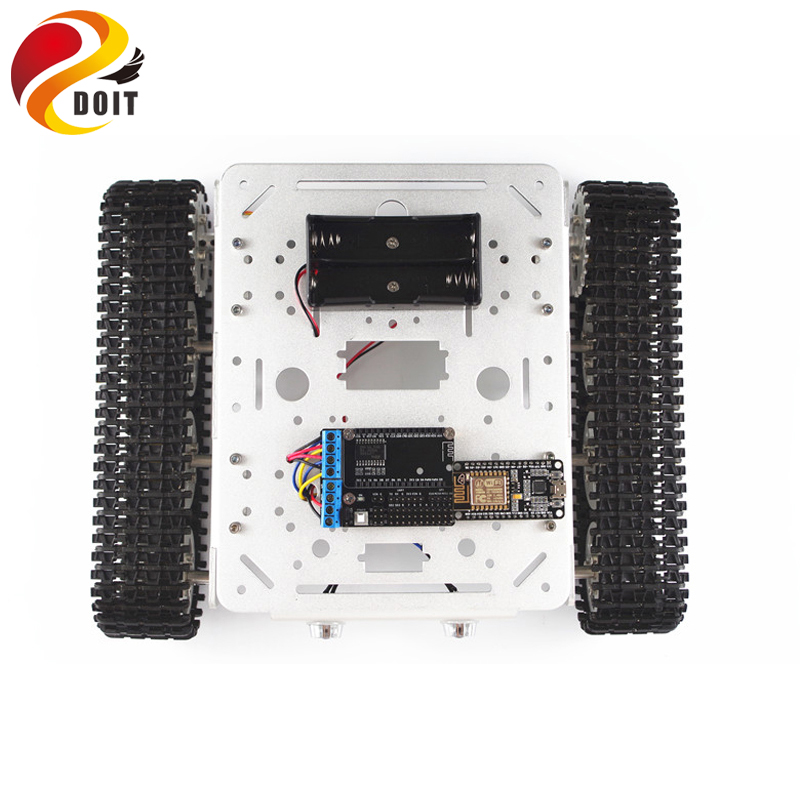DOIT rc kit T200 Wireless Tank Chassis Controlled by Android and iOS Phone based on Nodemcu ESP8266 Development Kit DIY RC Toy doit v3 new nodemcu based on esp 12f esp 12f from esp8266 serial wifi wireless module development board diy rc toy lua rc toy