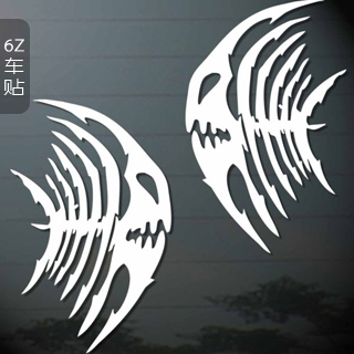 Skull fish car stickers fish bone car stickers car decoration refires appearance of back rise glass stickers door stickers