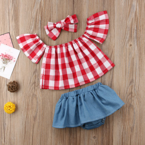 3PCS Summer Newborn Kids Baby Girls Off Shoulder Plaid Top T-Shirt+Denim Shorts Clothes Summer Clothes Outfit Set open shoulder plaid top