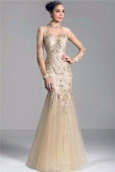 e7161e9d27 Champagne vestido de noche de cuello alto 2015 tul sirena Madre de la novia  vestido de manga larga Sheer Back cremallera vestido de Graduación z8