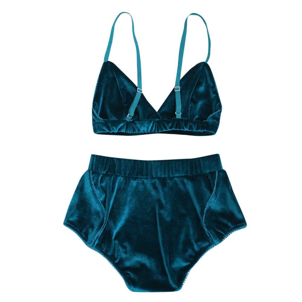 d6400a346 Kenancy Fashion Women Velvet Bra Underwear Straps Bralette Panties Soft  Trim Bra Sets High Waist Push Up Bra Set-in Bra   Brief Sets from Underwear  ...