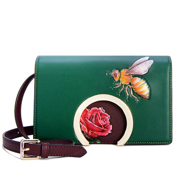 E6249 New Fashion Leather single shoulder bag lady bee flower bag Mini Satchel Leather Ladies Crossbody Bag
