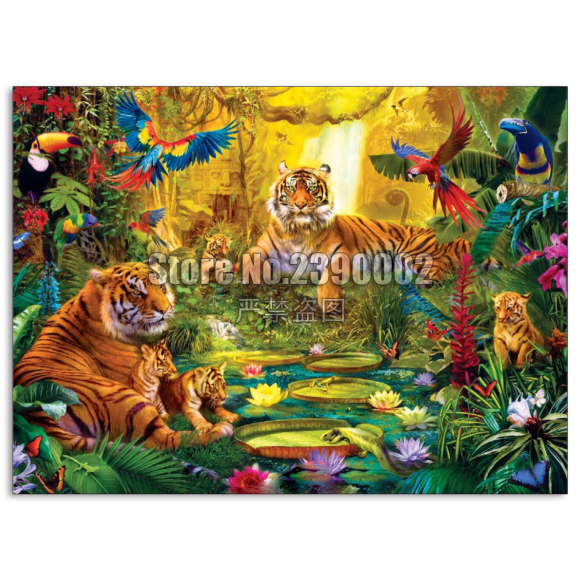 5D DIY Diamond painting Tiger Family in the Jungle Full square embroidery Cross Stitch animals Rhinestone Mosaic gifts