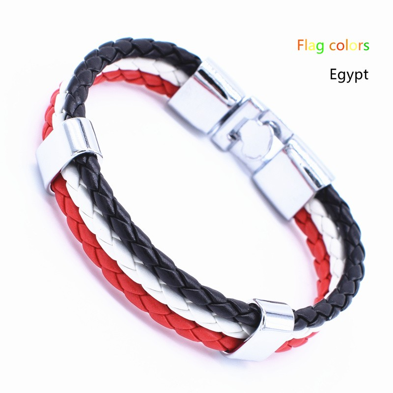 Wholesale Length 21cm 3 Strands Rope Braided Leather Chain & Link Bracelet Men Wristband National Flags Color Sports Bracelets 13
