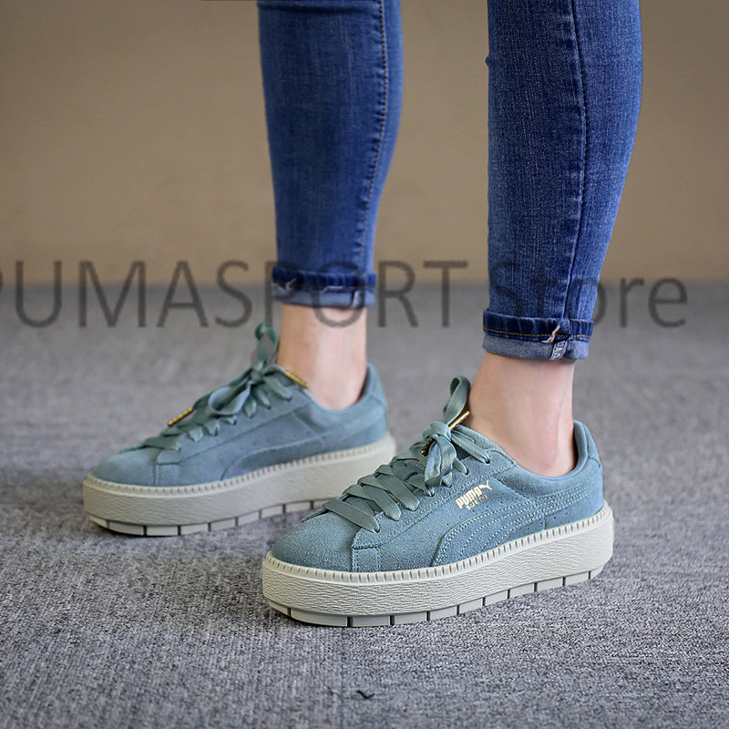 b0b4af09a23 2018 New Arrival PUMA Fenty by Rihanna Cleated Creeper Suede Sneakers  Women s Badminton shoes