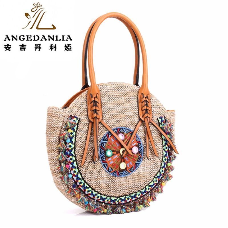 summer lady pp beach straw rounded handbag Hippie Gypsy Chic Women Tote Bags BOHO Ethnic Bag shoulder Bag crossbody bags bolsos tote bag