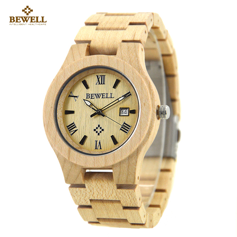 BEWELL Wood Watch Men Wooden Fashion Vintage Men Watches Top Brand Luxury Quartz Watch relogio masculino With Paper Box 127A