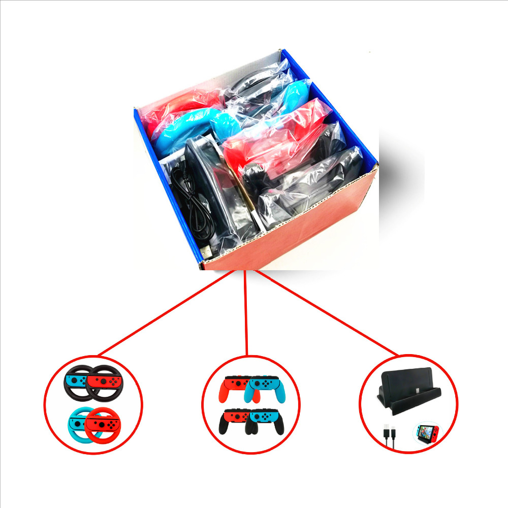 Купить с кэшбэком 10 in 1 Accessories Set for Nintend Switch 4 * Steer Wheel Handle for Joy-con Grip 4 * Controller Grips Type-C Cable Charger