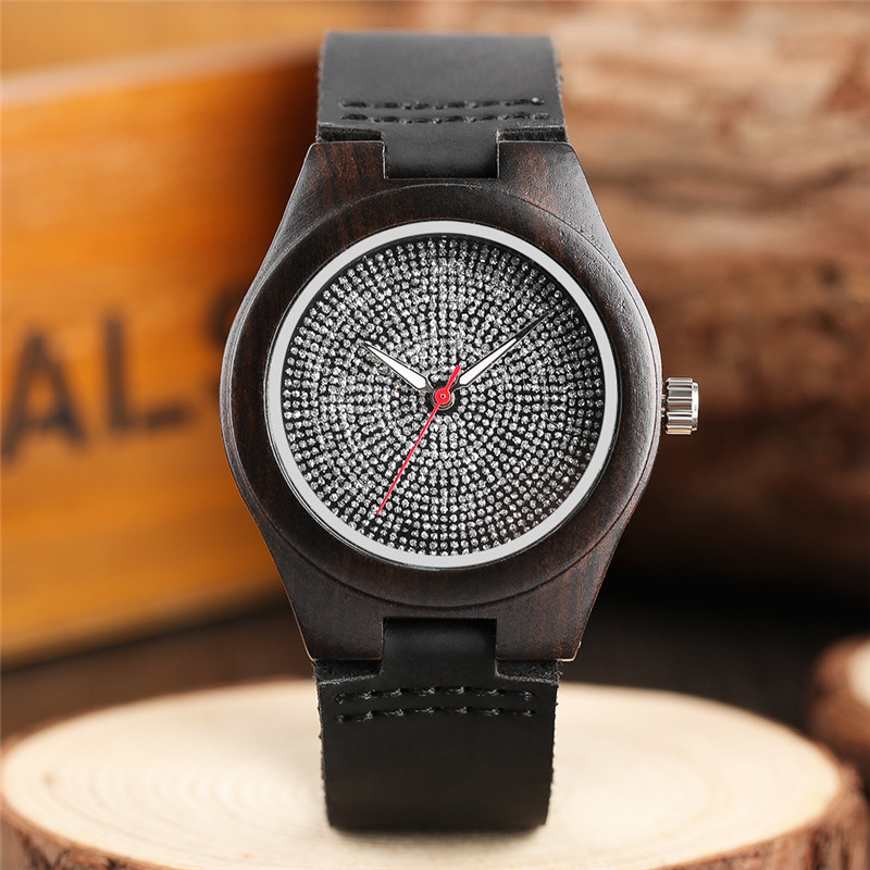 Bamboo Minimalist Crystal Dial Wooden Wrist Watch Trendy Women Genuine Leather Band Strap Creative Handmade Watches For Girl simple brown bamboo full wooden adjustable band strap analog wrist watch bangle minimalist new arrival hot women men nature wood